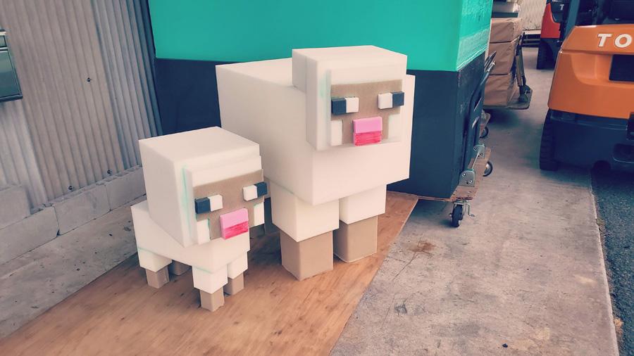 スポンジブロックで作ったマインクラフトの羊